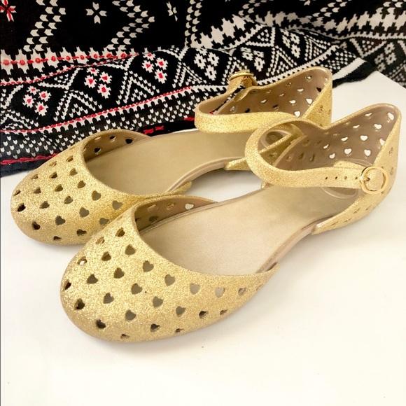 6dd9b5778633 Mel by Melissa Shoes | Gold Dorsay Heart Cutout Flats 7 | Poshmark